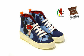 Woman's Blue Camouflage Sneakers with White Plataform In Genuine Leather Made in Portugal
