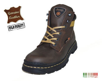 Jeep Brown Boots in 100% Genuine Leather Made in Portugal