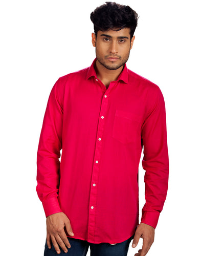 a7a9f5abe86 R.J. Fusion   Threads Raspberry Pink Cotton Linen Full Sleeves Formal Shirt