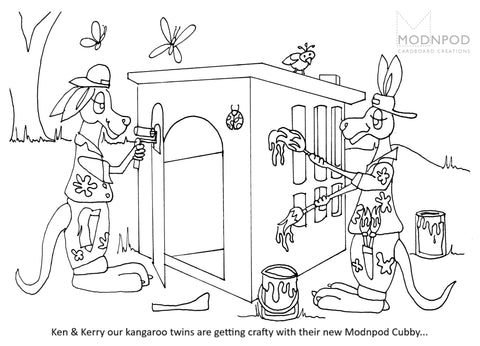 Colouring Page Cubby - Modnpod Cardboard Creations
