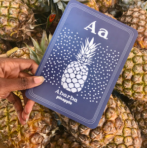 POLYGLOT TOT TRIBAL ART FLASHCARD HAUSA ADIRE PINAPPLE ALPHABET