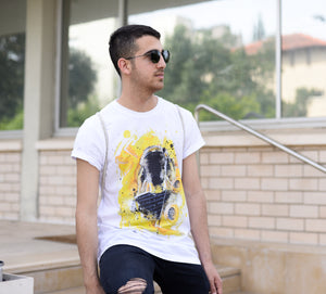 """Beat"" printed t-shirt by Almogolan Art"