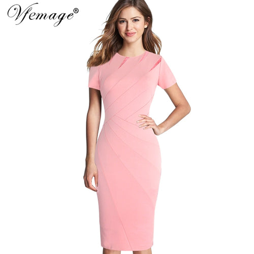 62eeaab2147bf Womens Autumn Winter Elegant Patchwork Slim Casual Work Business Office  Party Fitted Bodycon Pencil Sheath Dress