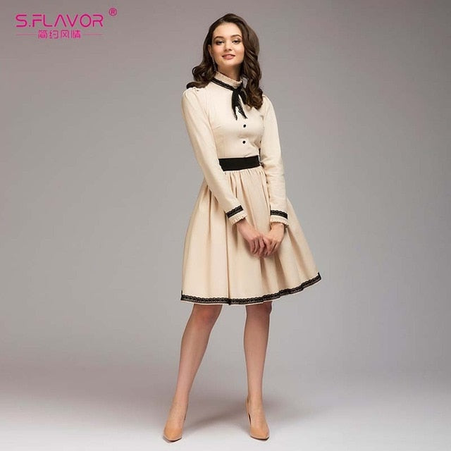 A Line Vintage Dress Hot Sale Solid Lace Patchwork Knee Length Vestidos For Female Women Autumn Winter Dress