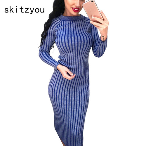 d2b7f0d877 Autumn Winter Women Knitted Long Sleeve Sweater Dress Elastic Slim Sexy  Bodycon Black O Neck Party