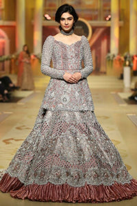 Rusty Pink Heavily Embellished Long Top Lehenga