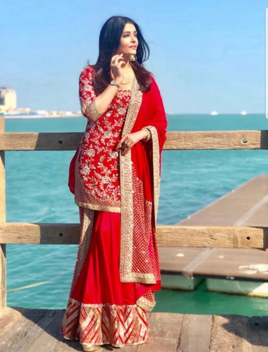 Aishwarya Rai in Red Manish Malhotra