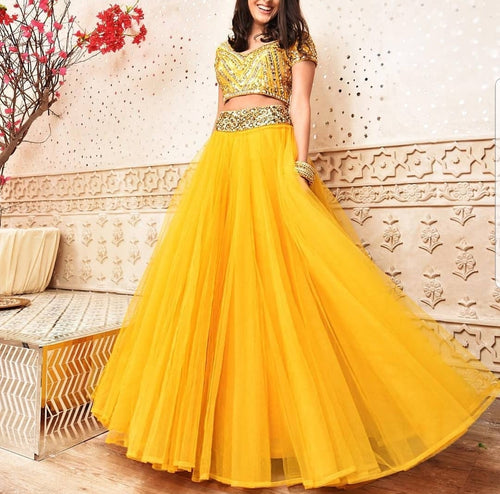 Yellow Mehndi Lehenga with Embellished Crop Top