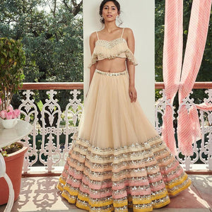 Ruffle Top Faux Mirror Lehenga
