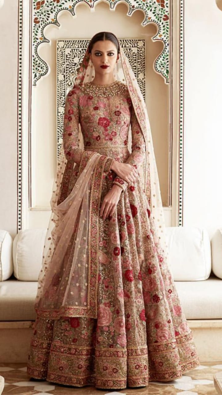 Pink Floral Embellished Long Gown