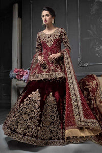 Maroon Heavily Crystal Embellished Bridal Wear