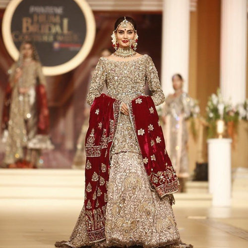 Golden Bridal Dress with Heavy Crsytal Embellishments and Velvet Dupatta