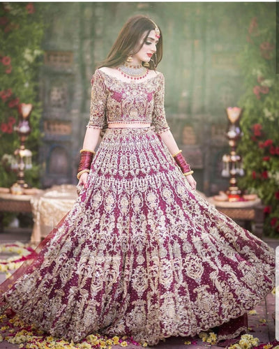 Heavily Embellished Red Bridal Lehenga