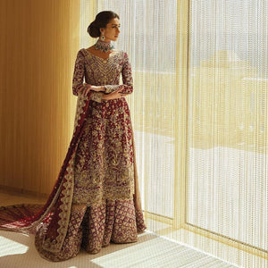 heavy pakistani bridal lehenga