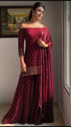 Maroon Off Shoulder Sharara Suit