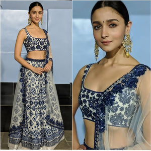 Alia Bhatt in White Blue Combination Lehenga