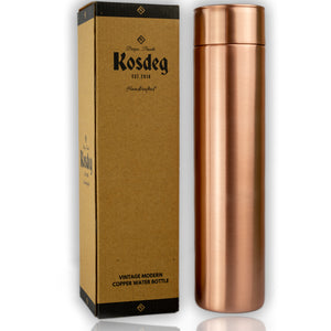 Kosdeg - Copper Water Bottle - Vintage Modern - Smooth - 34 Oz/ 1L