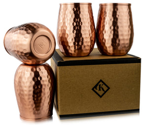 Kosdeg - Copper Cups - Set of 4 - 16 Oz/ 473ml