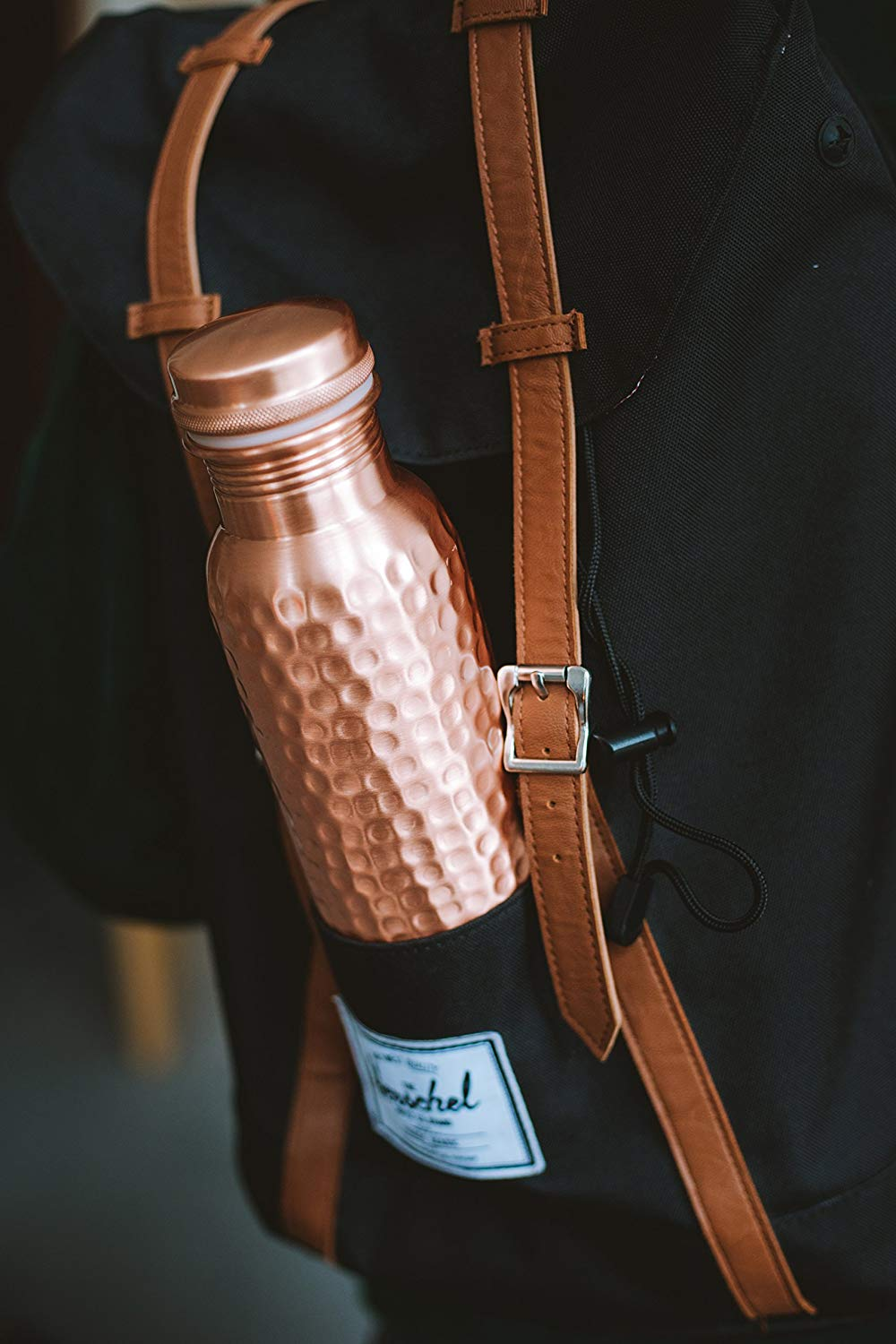 Copper Water Bottle - Hammered by hand