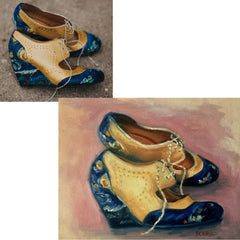 Commissioned wedding shoes painting by Carrie Lacey Boerio