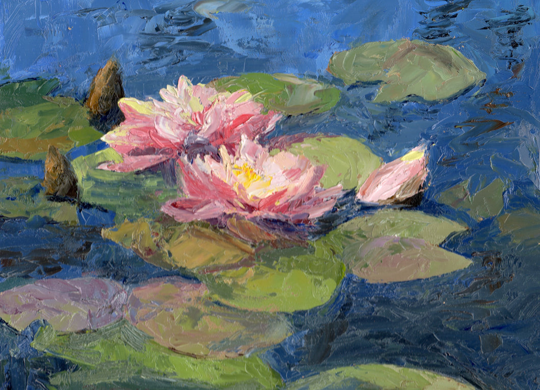 Impasto water lilies (9 x 12 inches)