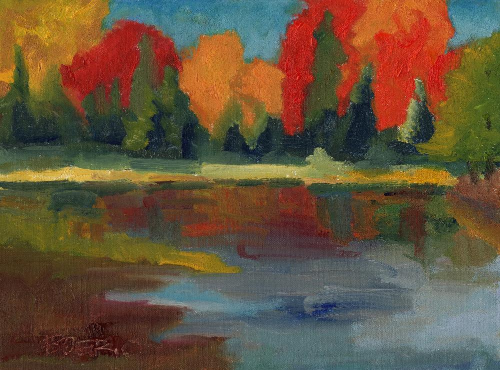 Fall reflections (9x12 in)