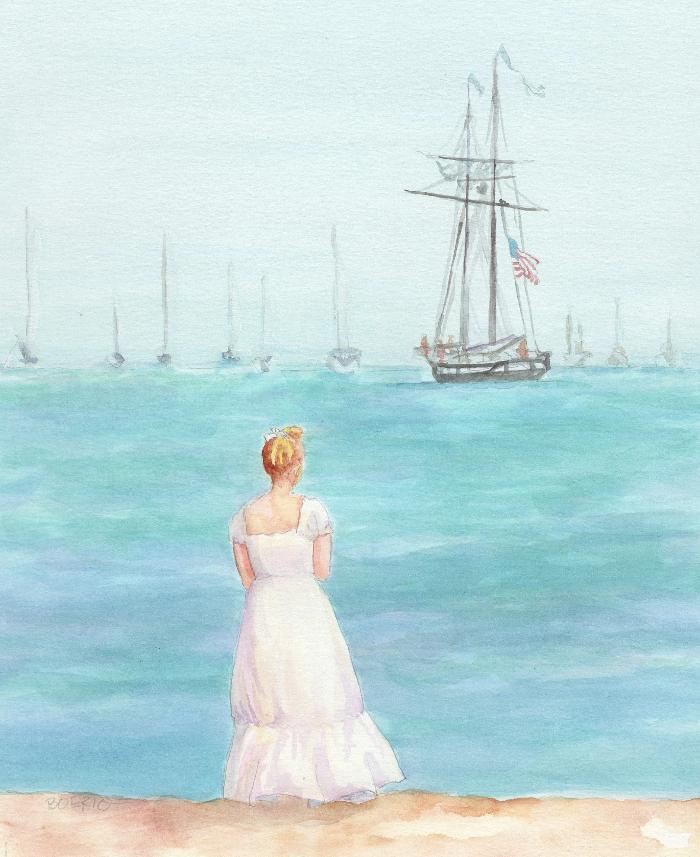 Watercolor painting by Carrie Lacey Boerio of woman in white on shores of Nantucket looking at sailboats on the water