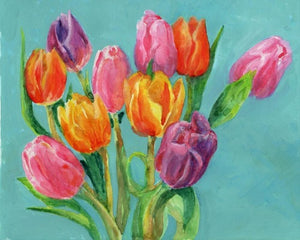 original watercolor painting of bright colors tulip bouquet by carrie lacey boerio