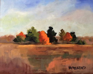 original oil painting of colorful fall leaves on trees in a field in fall/autumn by carrie lacey boerio