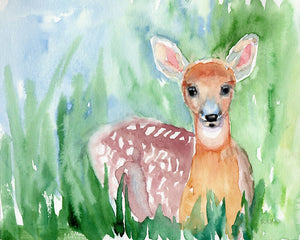 watercolor painting of baby deer by artist Carrie Lacey Boerio