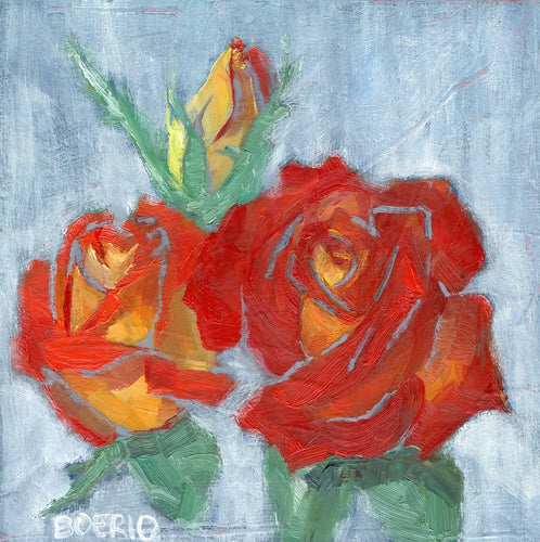 original oil painting by carrie lacey boerio of red and yellow roses