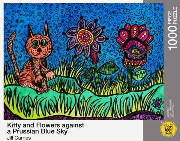 Kitty and Flowers against a Prussian Blue Sky by Jill Carnes - 1000 piece jigsaw puzzle