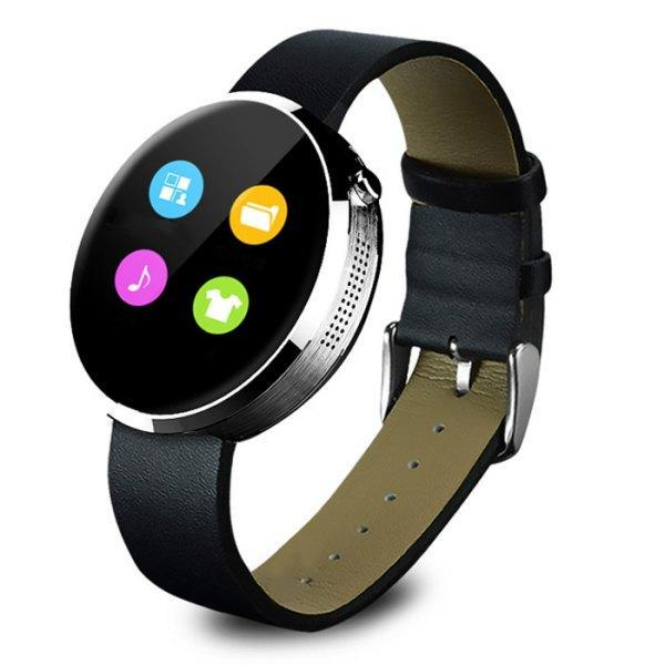 LEMFO DM360  Smartwatch  -  LEATHER BAND  SILVER