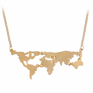 Globe World Map Pendant Necklace