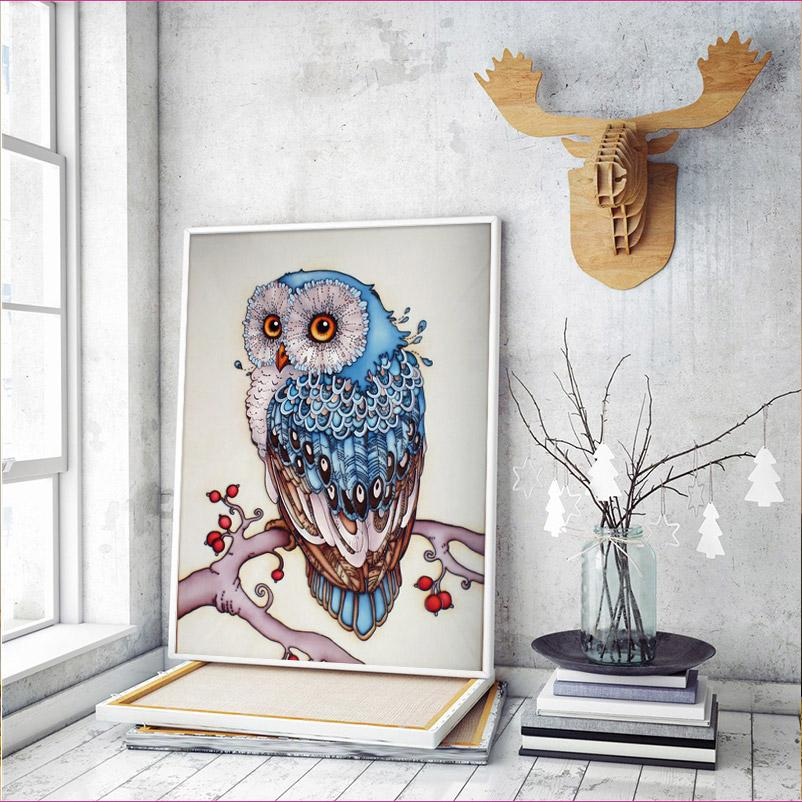 Beautiful Blue Owl - Full Drill Diamond Painting