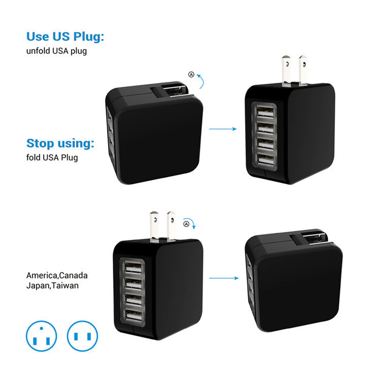 Travel Adapter US EU UK AU Plugs 4 USB Ports Charger Universal Wall Converter Socket for Phones
