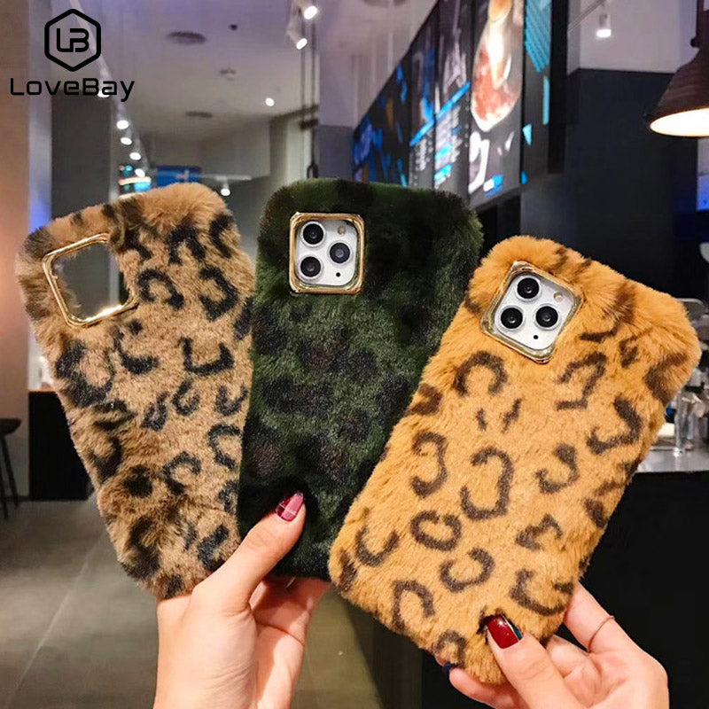 Luxury Warm Leopard Fluffy Fur Phone Case