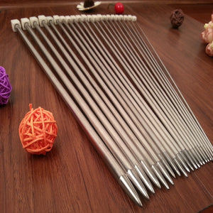 11PCS/set 25cm/35cm Stainless steel Single Pointed Knitting Needles