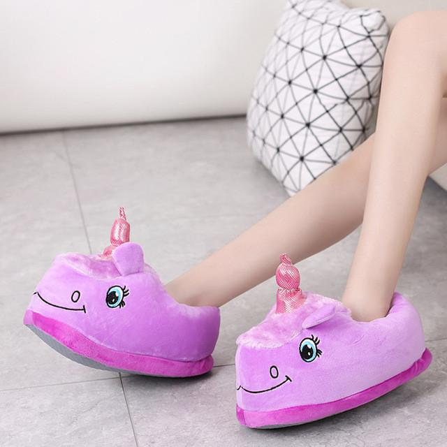 Funny Purple Unicorn Slippers