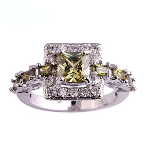 Princess Cut Peridot Ring