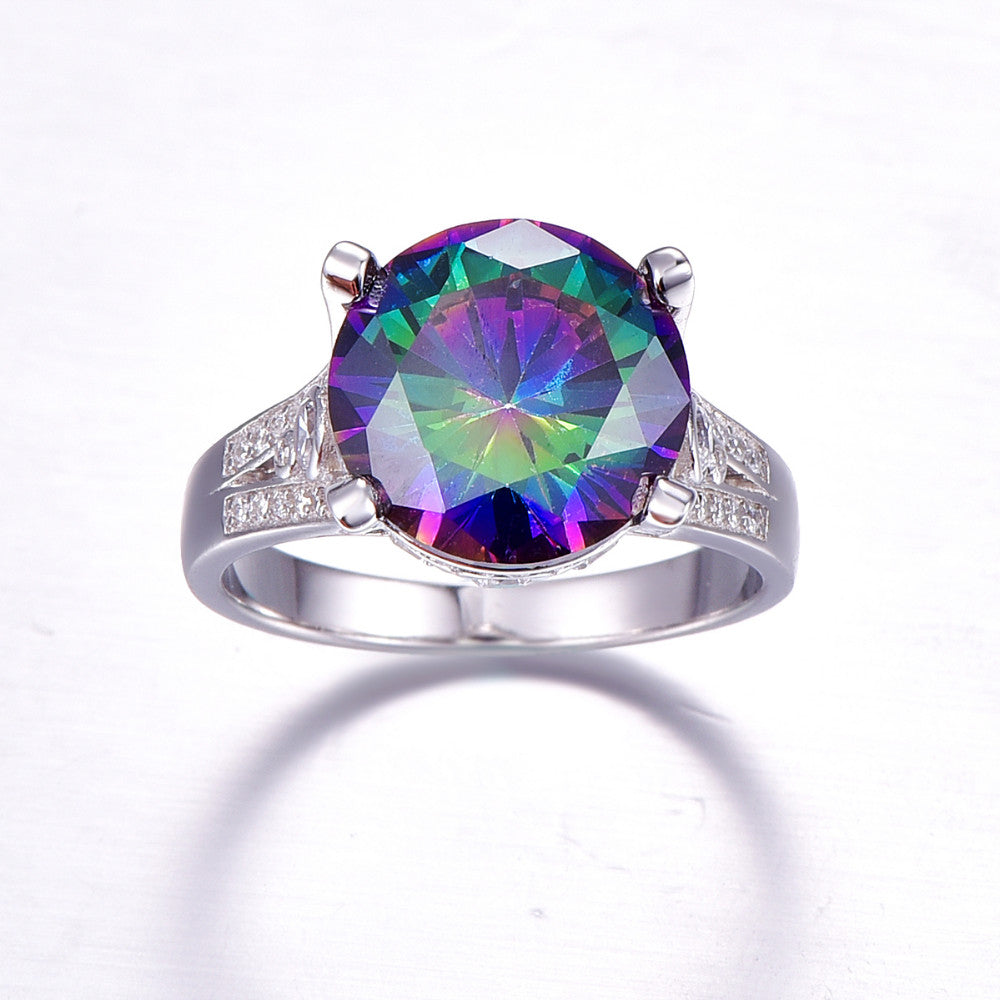 Elegant Rainbow Topaz 10,5 ct  925 Sterling Silver Ring