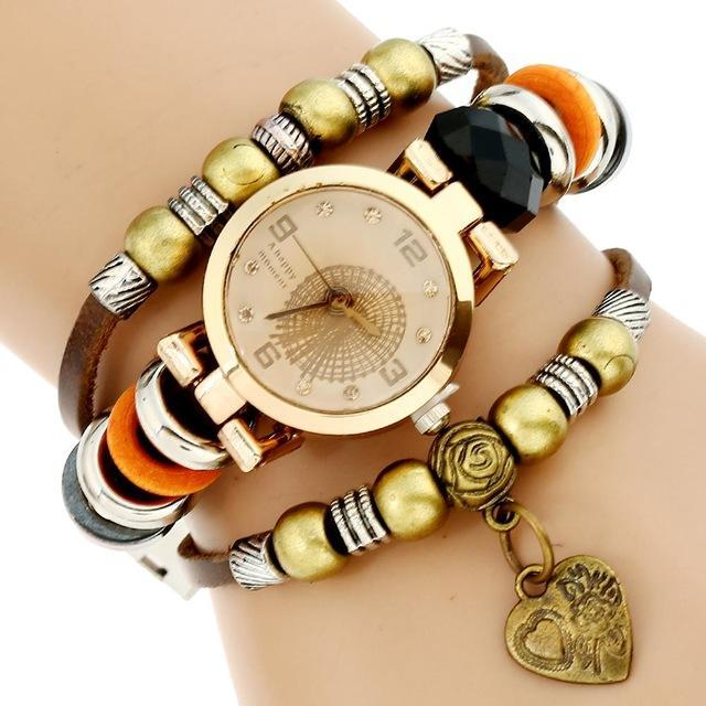Beaded Genuine Leather Triple Strap Bracelet Watch