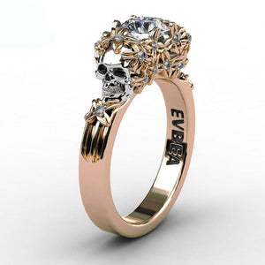 Elegant Golden Skull Zircon Ring