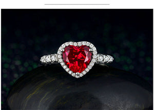 Red Ruby Heart Shape Ring  Sterling 925 Silver