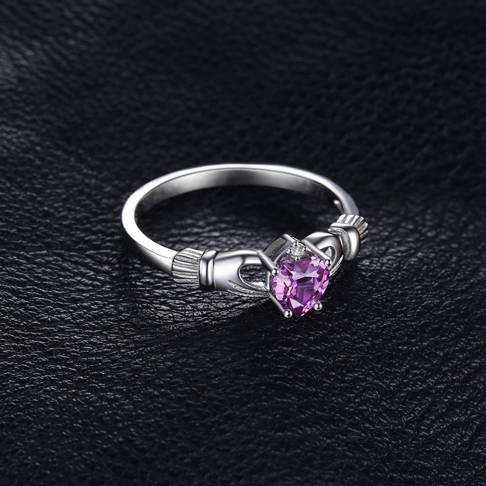 Amethyst Birthstone Irish Claddagh Ring