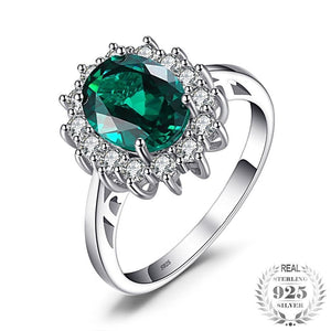 Princess  2.74 ct Oval  Emerald Ring  Fine 925 Sterling Silver