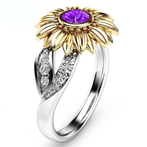 Cute Golden Sunflower Crystal  Ring