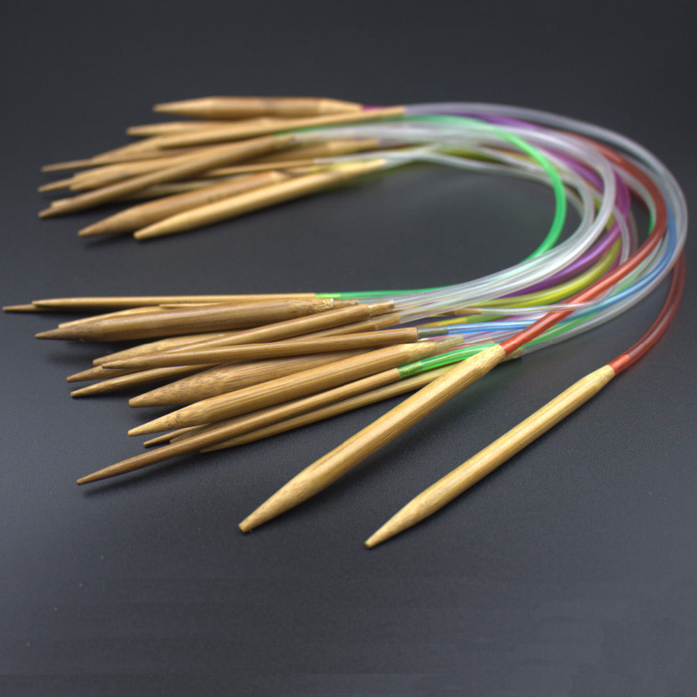 18Pcs/set Circular Bamboo Carbonized Knitting Needles