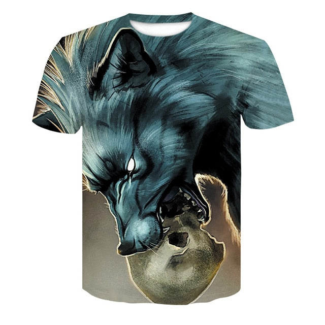 Newest Wolf 3D Print Animal Cool Funny T-Shirt For Men