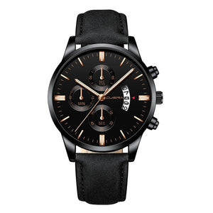 Sport Stainless Steel Case Leather Band Business Wristwatch